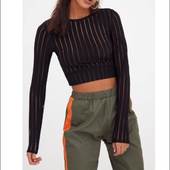 ace523a99822a Pretty little thing mesh long sleeve crop top